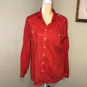 Chico's Red Linen Button Down Shirt Size 2